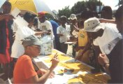 Eartha signing CD�s for supporters